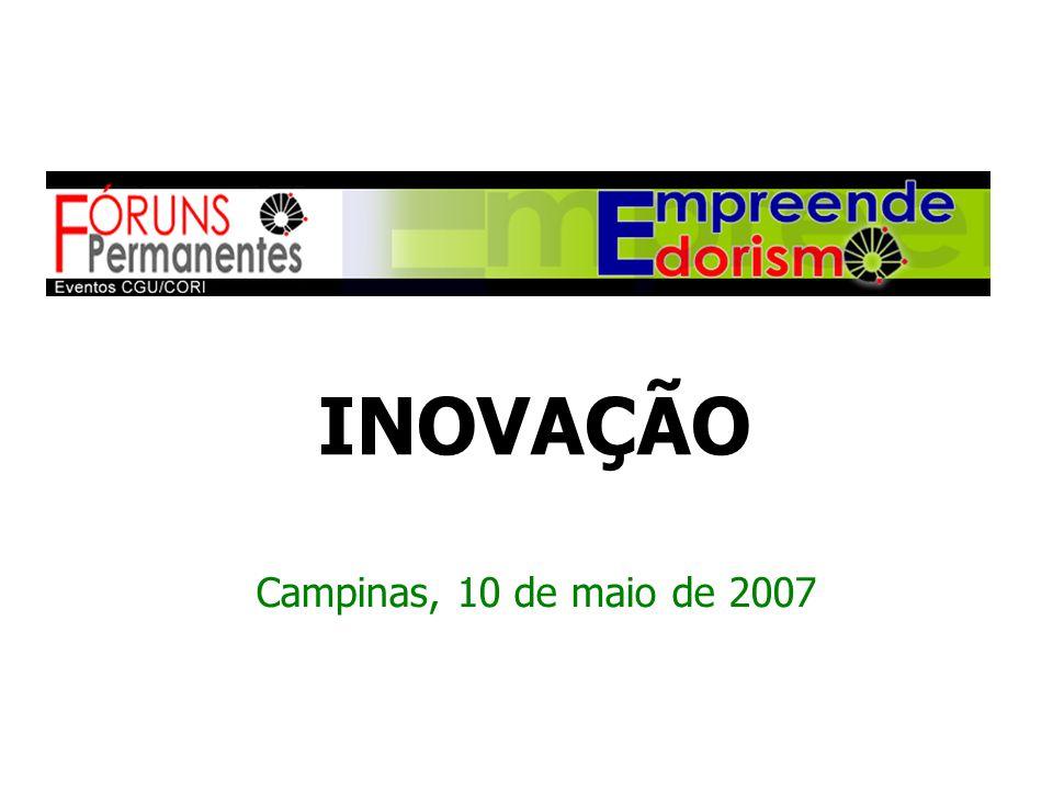 Campinas, 10 de maio de 2007 INOVAÇÃO