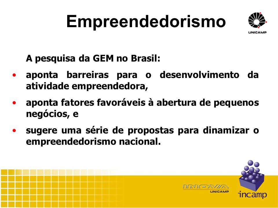 Empreendedorismo A pesquisa da GEM no Brasil: aponta barreiras para o desenvolvimento da atividade empreendedora, aponta fatores favoráveis à abertura de pequenos negócios, e sugere uma série de propostas para dinamizar o empreendedorismo nacional.