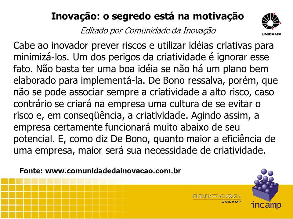 Inovação: o segredo está na motivação Editado por Comunidade da Inovação Cabe ao inovador prever riscos e utilizar idéias criativas para minimizá-los.