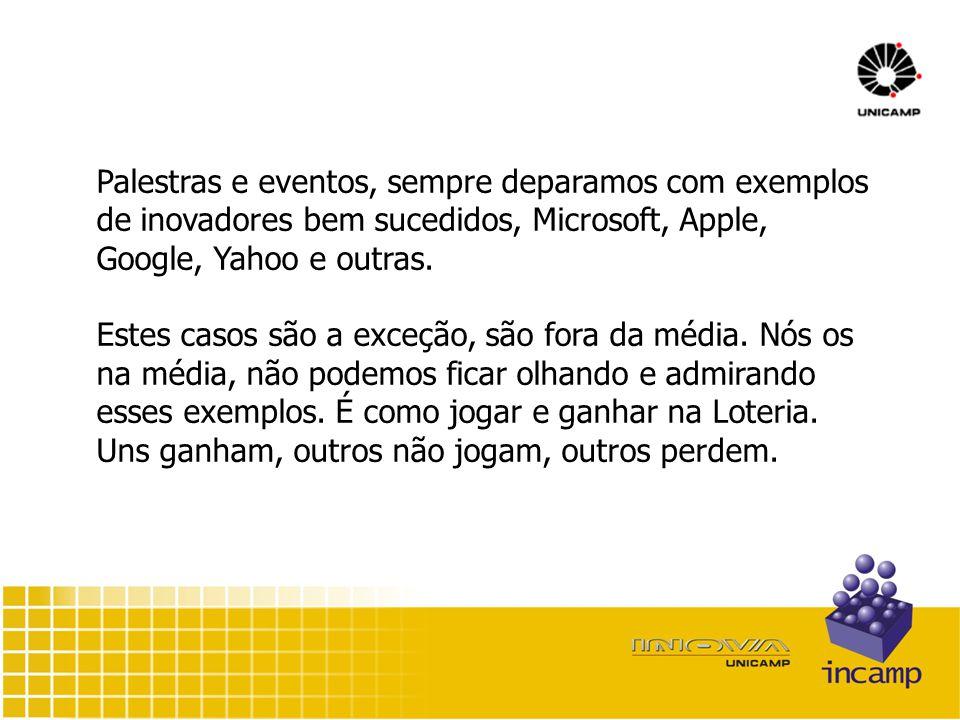 Palestras e eventos, sempre deparamos com exemplos de inovadores bem sucedidos, Microsoft, Apple, Google, Yahoo e outras.