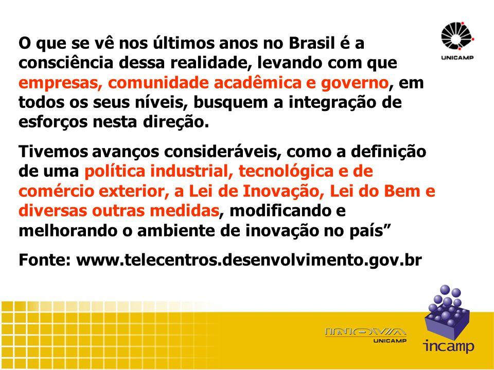 O que se vê nos últimos anos no Brasil é a consciência dessa realidade, levando com que empresas, comunidade acadêmica e governo, em todos os seus níveis, busquem a integração de esforços nesta direção.