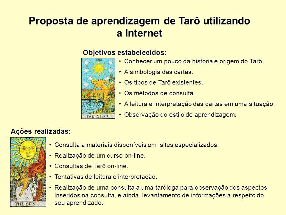 Conhecer um pouco da história e origem do Tarô. A simbologia das cartas. Os tipos de Tarô existentes. Os métodos de consulta. A leitura e interpretaçã