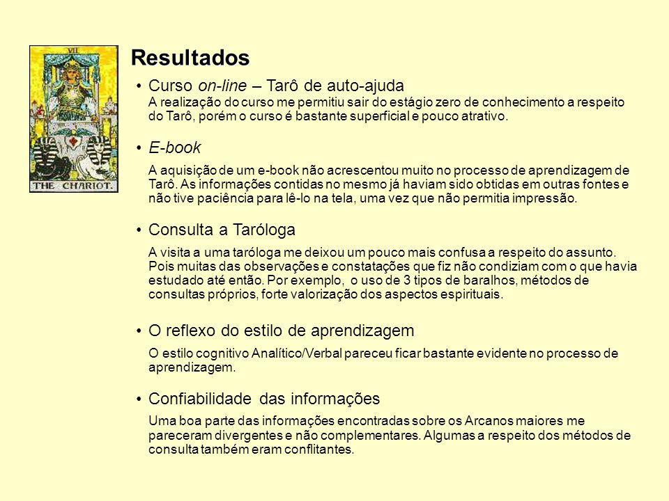 Resultados O reflexo do estilo de aprendizagem O estilo cognitivo Analítico/Verbal pareceu ficar bastante evidente no processo de aprendizagem. Confia