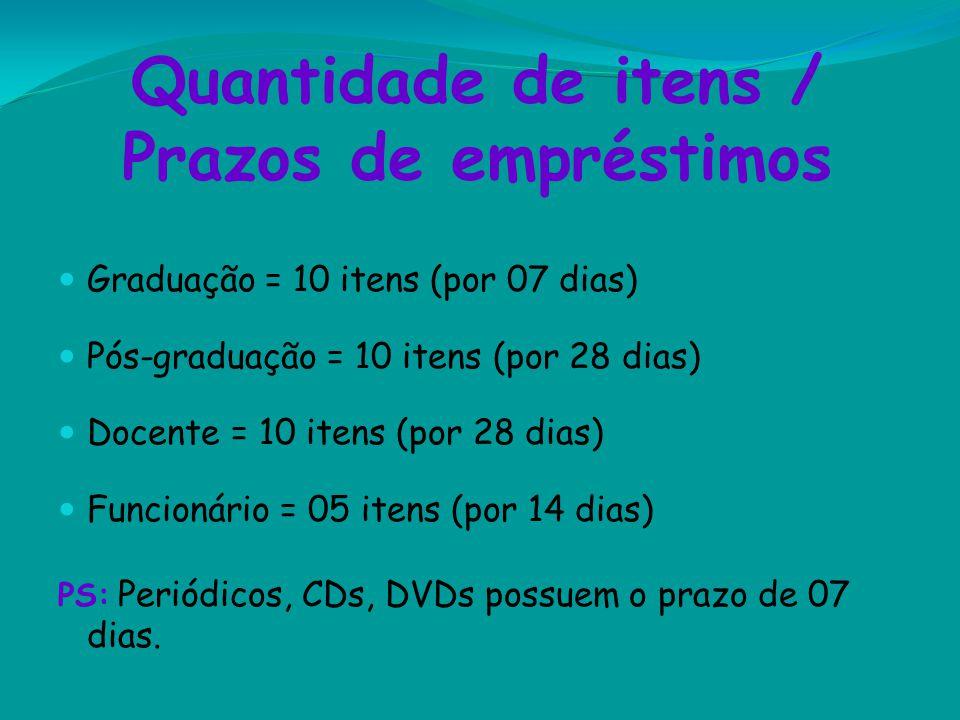 Quantidade de itens / Prazos de empréstimos Graduação = 10 itens (por 07 dias) Pós-graduação = 10 itens (por 28 dias) Docente = 10 itens (por 28 dias)