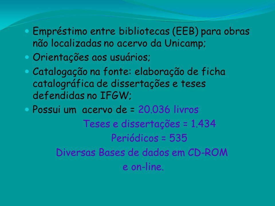 Empréstimo entre bibliotecas (EEB) para obras não localizadas no acervo da Unicamp; Orientações aos usuários; Catalogação na fonte: elaboração de fich