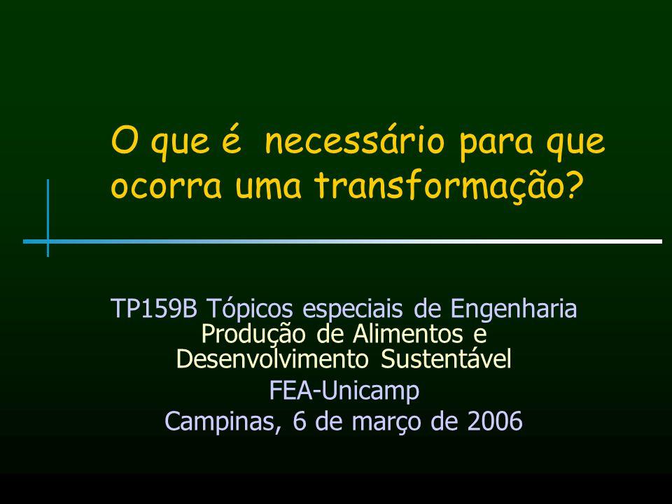 O que é necessário para que ocorra uma transformação? TP159B Tópicos especiais de Engenharia Produção de Alimentos e Desenvolvimento Sustentável FEA-U