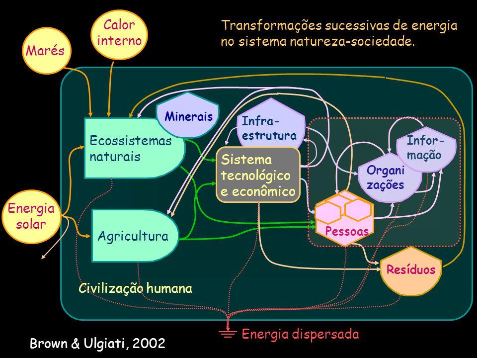 Civilização humana Transformações sucessivas de energia no sistema natureza-sociedade. Agricultura Ecossistemas naturais Infra- estrutura Pessoas Orga