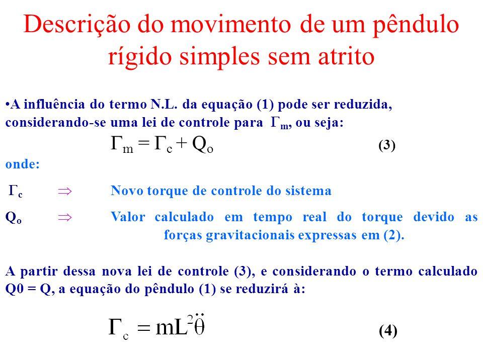 A influência do termo N.L. da equação (1) pode ser reduzida, considerando-se uma lei de controle para m, ou seja: m = c + Q o (3) onde: c Novo torque