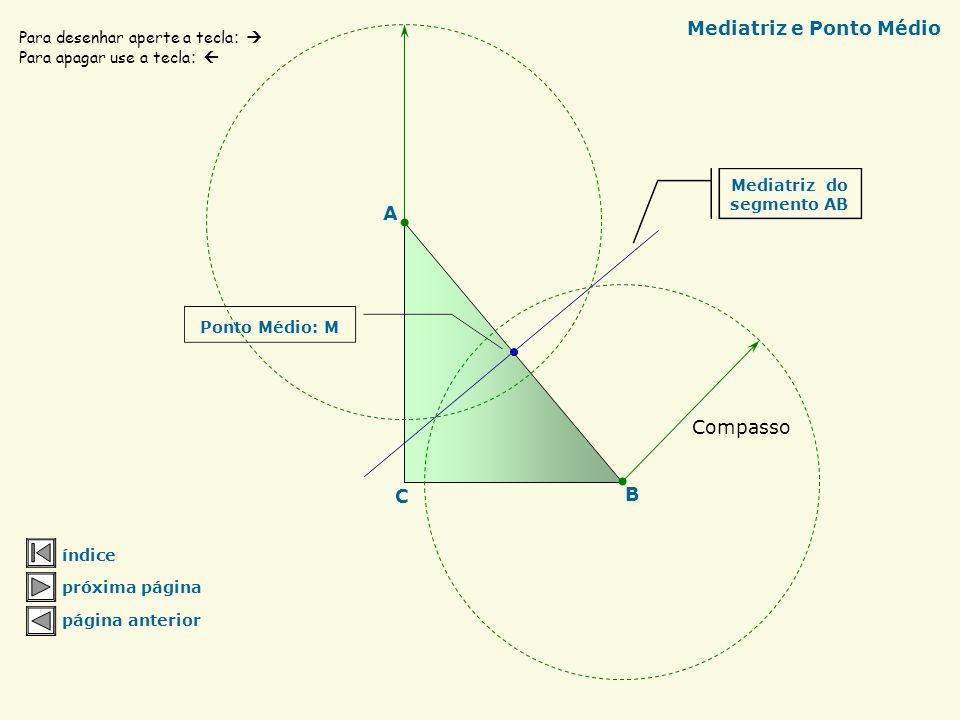 Índice Mediatriz e ponto médio Baricentro do triângulo Circuncentro do triângulo Incentro do triângulo Ortocentro do triângulo Localizando o centro do