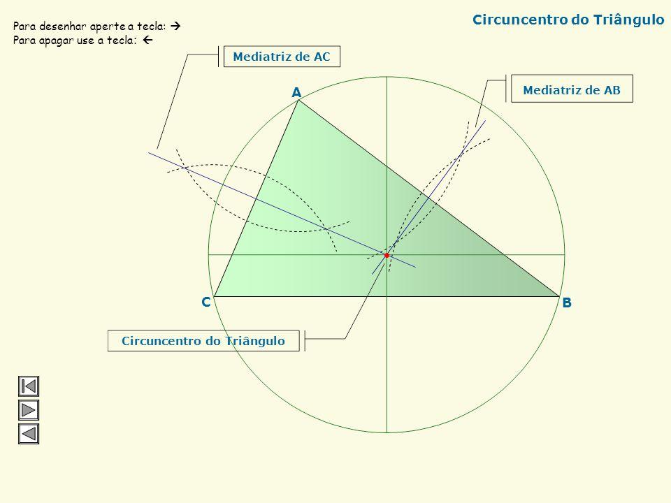C B A Baricentro do Triângulo Mediatriz de AB Mediatriz de CB Mediatriz de AC Para desenhar aperte a tecla: Para apagar use a tecla : Baricentro do Tr