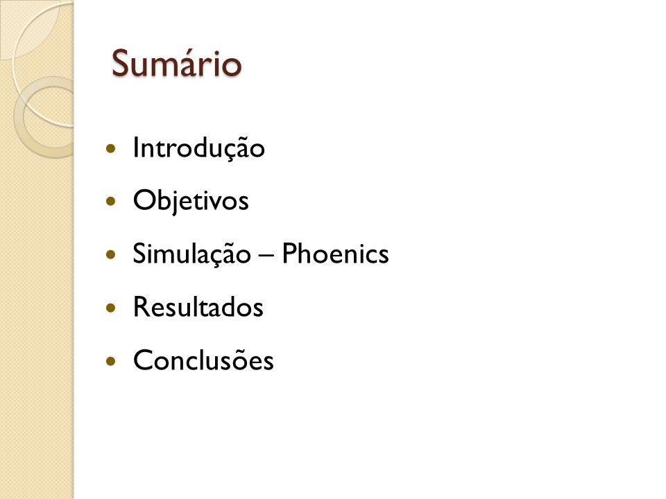 Sumário Introdução Objetivos Simulação – Phoenics Resultados Conclusões