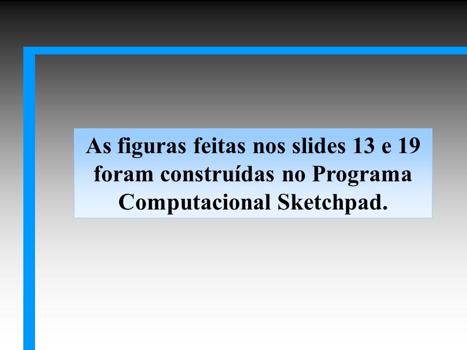 As figuras feitas nos slides 13 e 19 foram construídas no Programa Computacional Sketchpad.