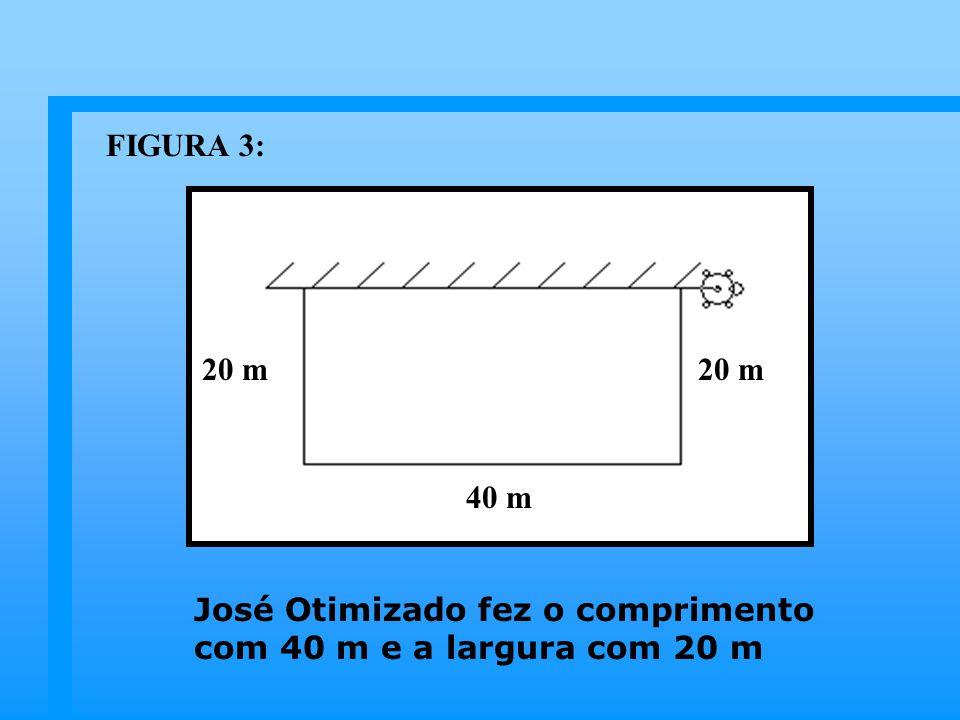 José Otimizado fez o comprimento com 40 m e a largura com 20 m 40 m 20 m FIGURA 3: