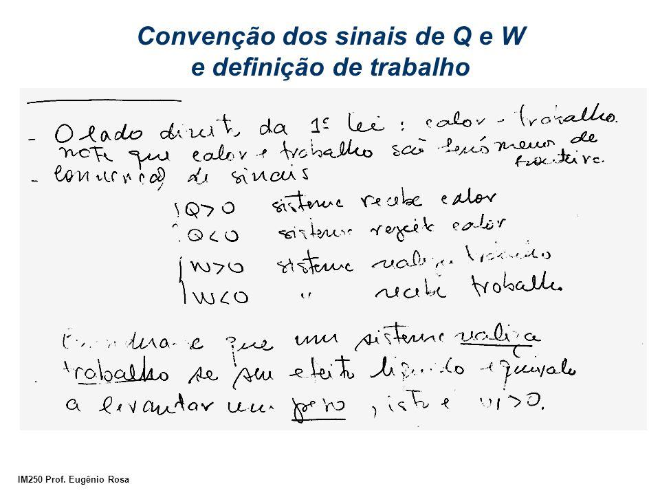 IM250 Prof. Eugênio Rosa Convenção dos sinais de Q e W e definição de trabalho