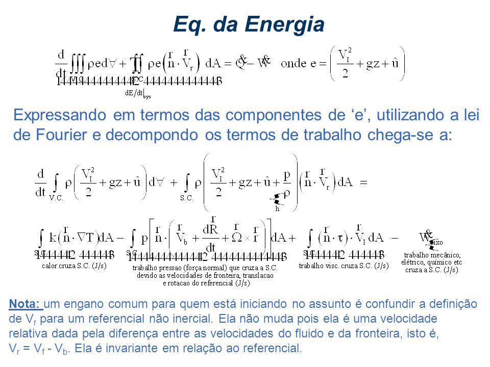 IM250 Prof. Eugênio Rosa Eq. da Energia Expressando em termos das componentes de e, utilizando a lei de Fourier e decompondo os termos de trabalho che