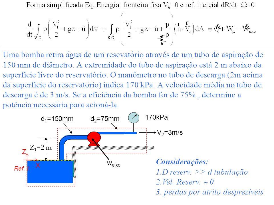 Uma bomba retira água de um resevatório através de um tubo de aspiração de 150 mm de diâmetro. A extremidade do tubo de aspiração está 2 m abaixo da s