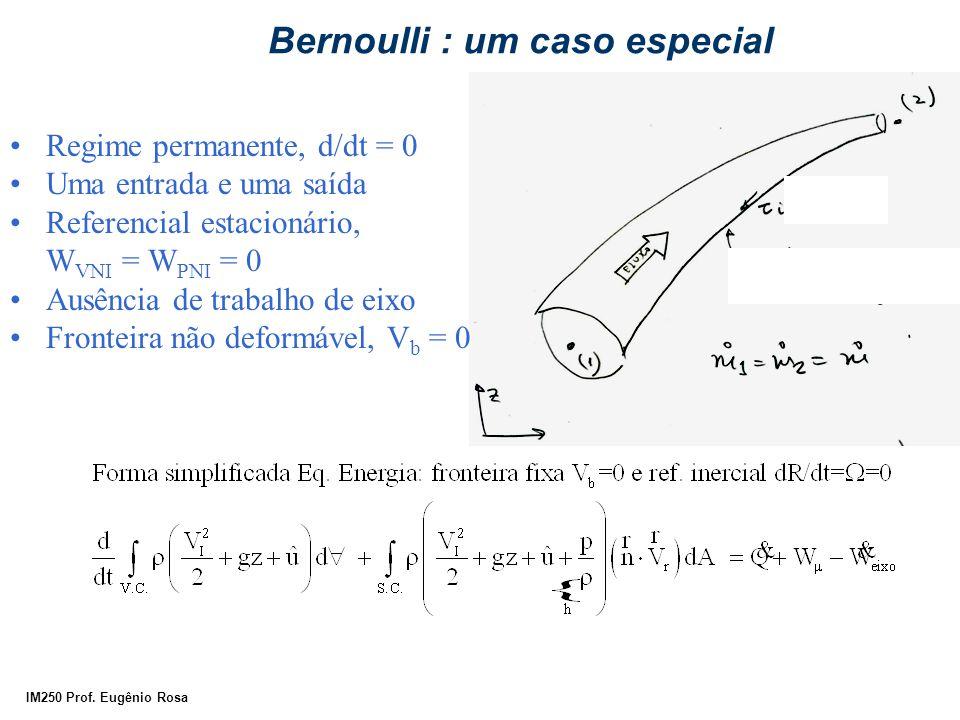 IM250 Prof. Eugênio Rosa Bernoulli : um caso especial Regime permanente, d/dt = 0 Uma entrada e uma saída Referencial estacionário, W VNI = W PNI = 0