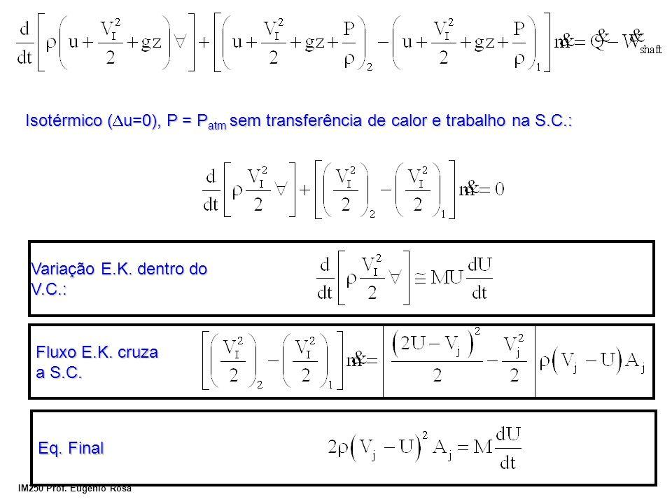 IM250 Prof. Eugênio Rosa Isotérmico ( u=0), P = P atm sem transferência de calor e trabalho na S.C.: Fluxo E.K. cruza a S.C. Variação E.K. dentro do V