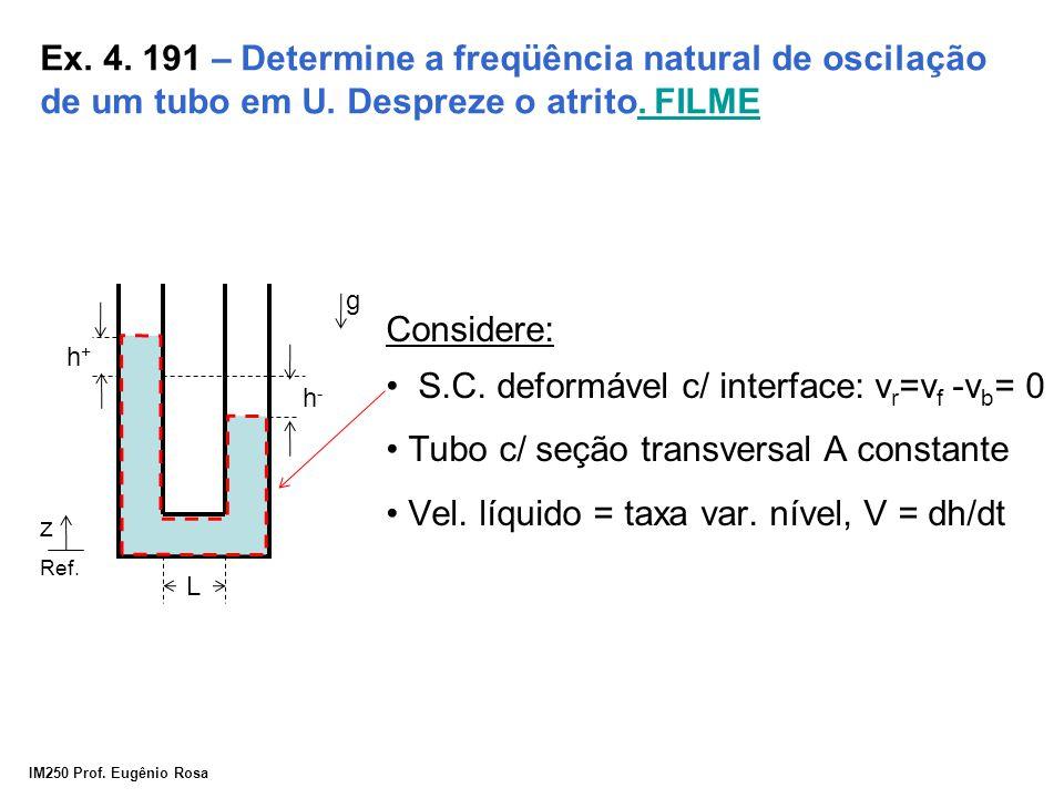 IM250 Prof. Eugênio Rosa Ex. 4. 191 – Determine a freqüência natural de oscilação de um tubo em U. Despreze o atrito. FILME. FILME h+h+ h-h- g z L Con