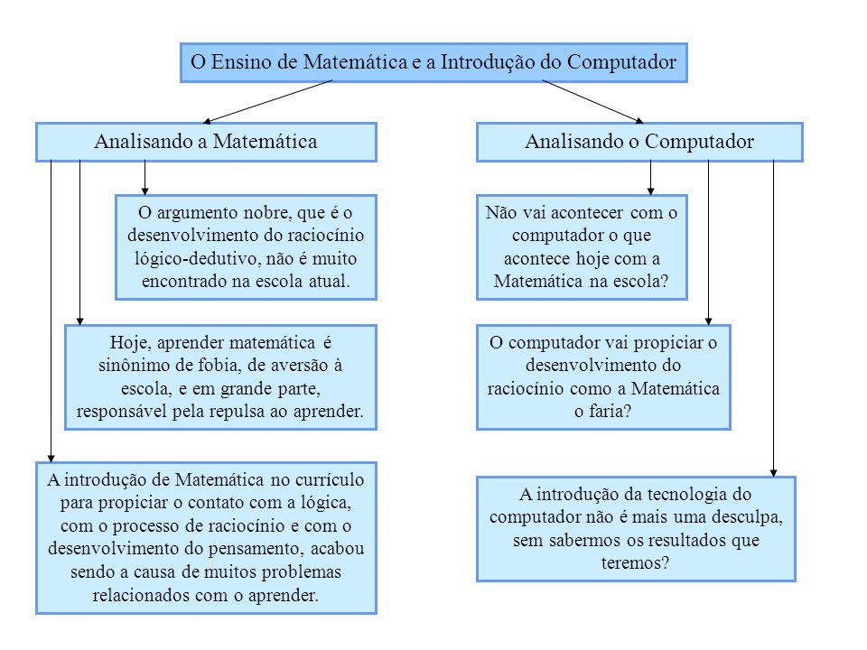 O Ensino de Matemática e a Introdução do Computador Analisando a MatemáticaAnalisando o Computador O argumento nobre, que é o desenvolvimento do racio