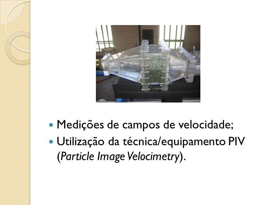 Medições de campos de velocidade; Utilização da técnica/equipamento PIV (Particle Image Velocimetry).