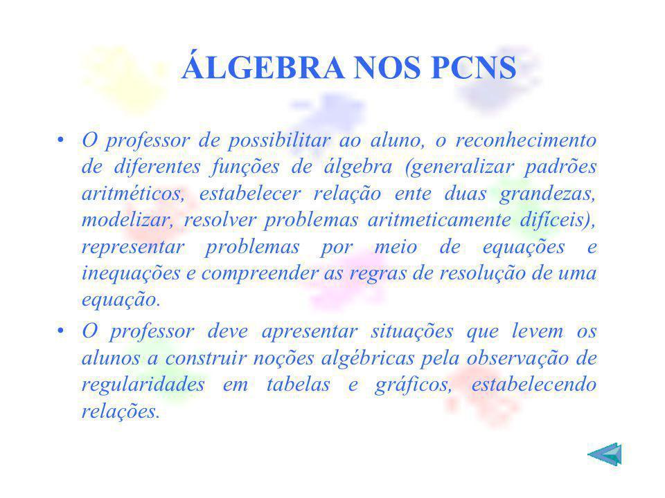 ÁLGEBRA NOS PCNS O professor de possibilitar ao aluno, o reconhecimento de diferentes funções de álgebra (generalizar padrões aritméticos, estabelecer