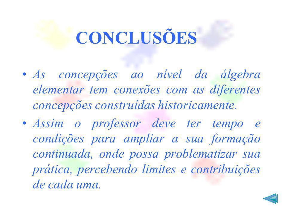 CONCLUSÕES As concepções ao nível da álgebra elementar tem conexões com as diferentes concepções construídas historicamente. Assim o professor deve te