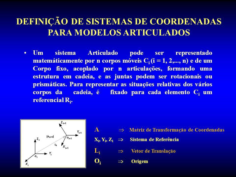 Um sistema Articulado pode ser representado matemáticamente por n corpos móveis C i (i = 1, 2,..., n) e de um Corpo fixo, acoplado por n articulações,
