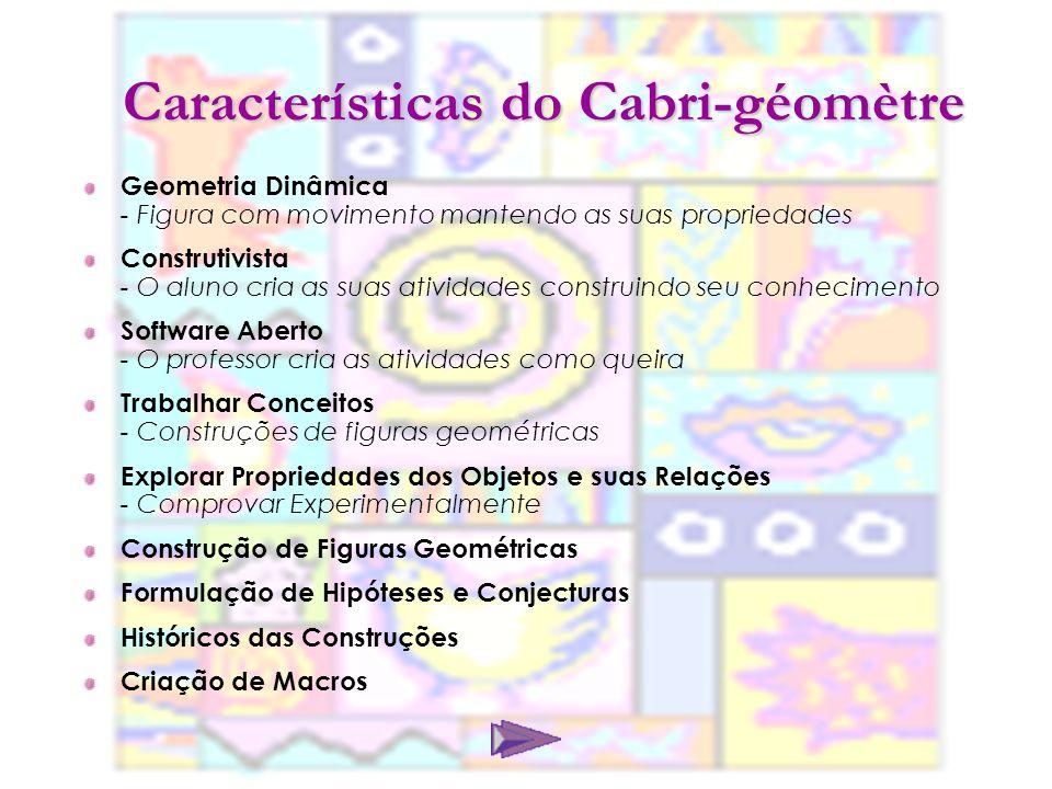 Características do Cabri-géomètre Geometria Dinâmica - Figura com movimento mantendo as suas propriedades Construtivista - O aluno cria as suas ativid