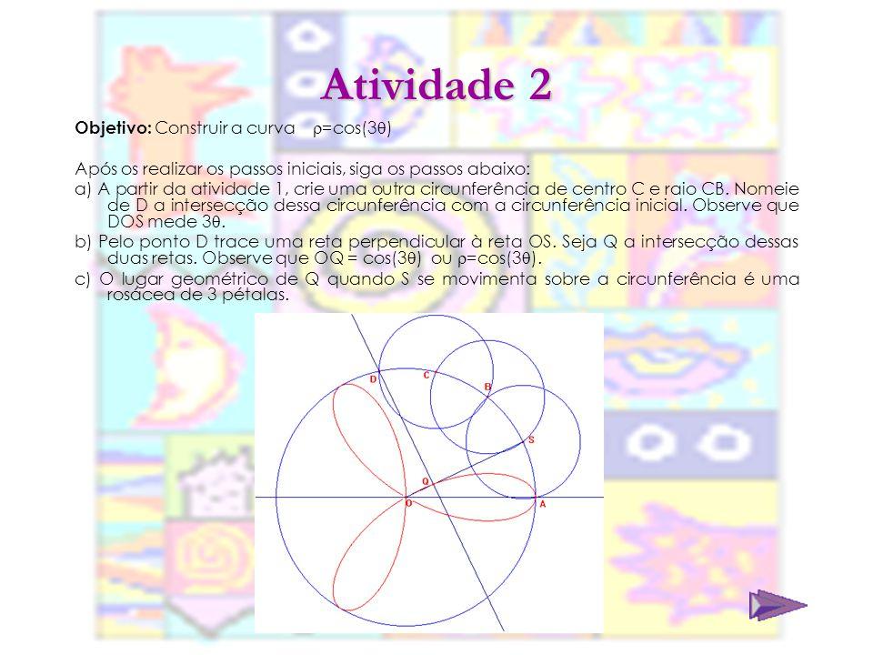 Atividade 3 Objetivo: Construir a curva =cos(4 ) Após os realizar os passos iniciais, siga os passos abaixo: a) A partir da atividade 2, crie uma outra circunferência de centro D e raio DC.