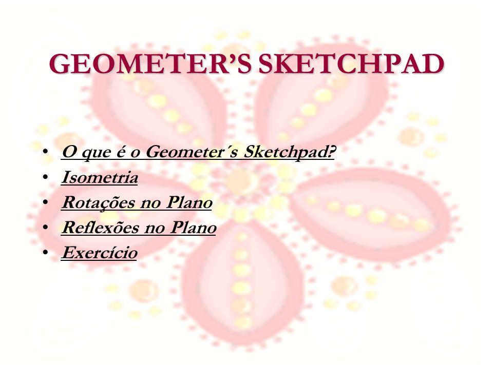 GEOMETERS SKETCHPAD O que é o Geometer´s Sketchpad? Isometria Rotações no Plano Reflexões no Plano Exercício