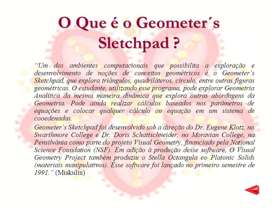 O Que é o Geometer´s Sletchpad ? Um dos ambientes computacionais que possibilita a exploração e desenvolvimento de noções de conceitos geométricos é o