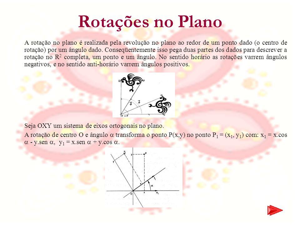 Rotações no Plano A rotação no plano é realizada pela revolução no plano ao redor de um ponto dado (o centro de rotação) por um ângulo dado. Conseqüen