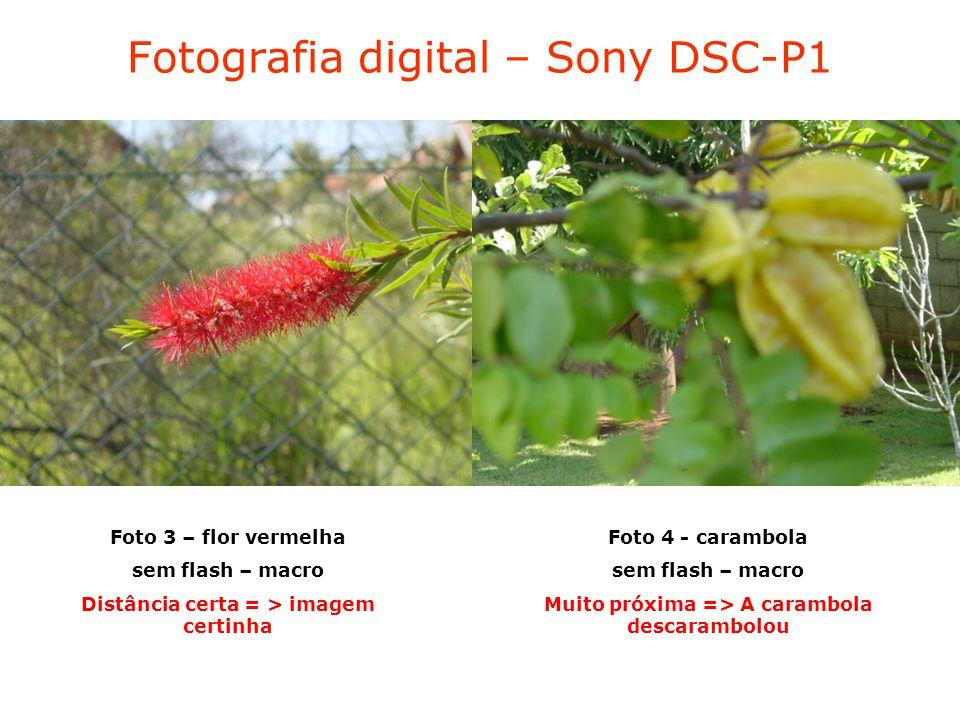 Fotografia digital – Sony DSC-P1 Foto 3 – flor vermelha sem flash – macro Distância certa = > imagem certinha Foto 4 - carambola sem flash – macro Muito próxima => A carambola descarambolou