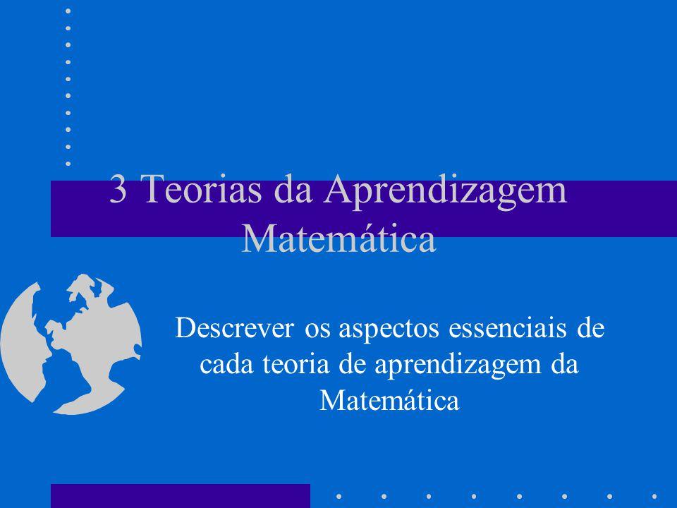 3 Teorias da Aprendizagem Matemática Descrever os aspectos essenciais de cada teoria de aprendizagem da Matemática