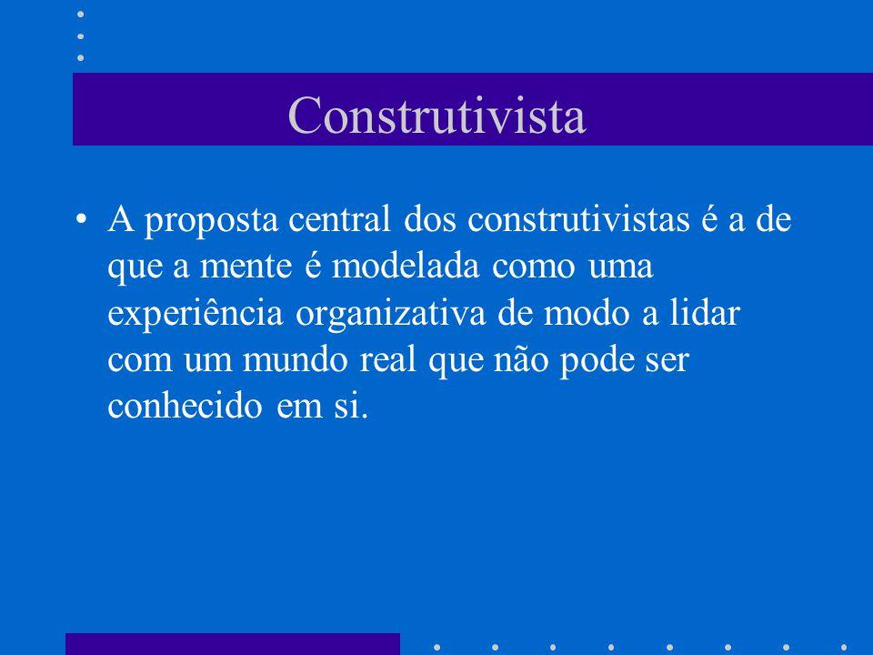 Construtivista A proposta central dos construtivistas é a de que a mente é modelada como uma experiência organizativa de modo a lidar com um mundo rea