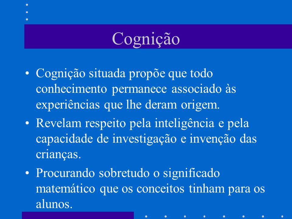 Cognição Cognição situada propõe que todo conhecimento permanece associado às experiências que lhe deram origem. Revelam respeito pela inteligência e