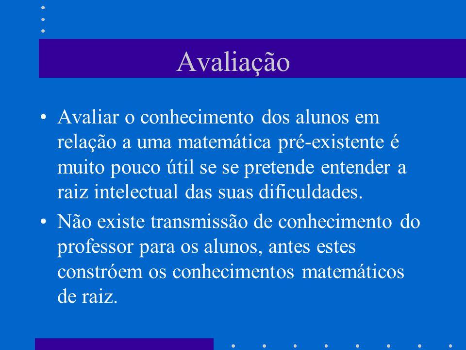 Avaliação Avaliar o conhecimento dos alunos em relação a uma matemática pré-existente é muito pouco útil se se pretende entender a raiz intelectual da