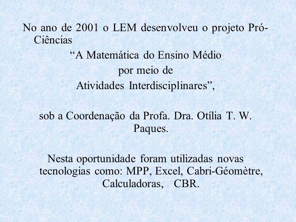 No ano de 2001 o LEM desenvolveu o projeto Pró- Ciências A Matemática do Ensino Médio por meio de Atividades Interdisciplinares, sob a Coordenação da