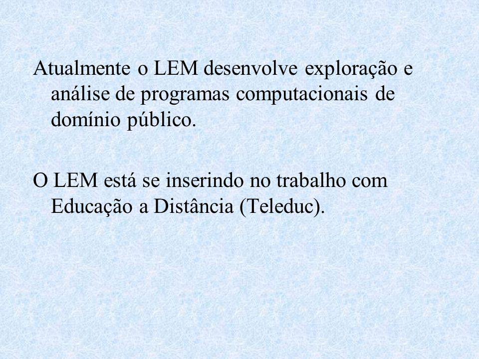 Atualmente o LEM desenvolve exploração e análise de programas computacionais de domínio público. O LEM está se inserindo no trabalho com Educação a Di