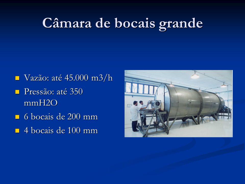 Câmara de bocais grande Vazão: até 45.000 m3/h Vazão: até 45.000 m3/h Pressão: até 350 mmH2O Pressão: até 350 mmH2O 6 bocais de 200 mm 6 bocais de 200