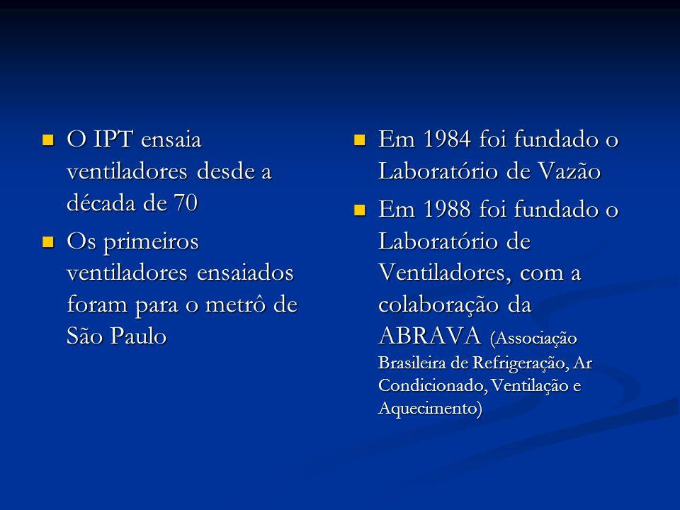 O IPT ensaia ventiladores desde a década de 70 O IPT ensaia ventiladores desde a década de 70 Os primeiros ventiladores ensaiados foram para o metrô d