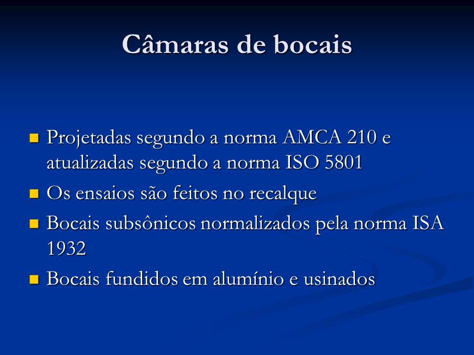 Câmaras de bocais Projetadas segundo a norma AMCA 210 e atualizadas segundo a norma ISO 5801 Projetadas segundo a norma AMCA 210 e atualizadas segundo