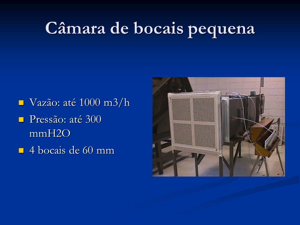 Câmara de bocais pequena Vazão: até 1000 m3/h Vazão: até 1000 m3/h Pressão: até 300 mmH2O Pressão: até 300 mmH2O 4 bocais de 60 mm 4 bocais de 60 mm