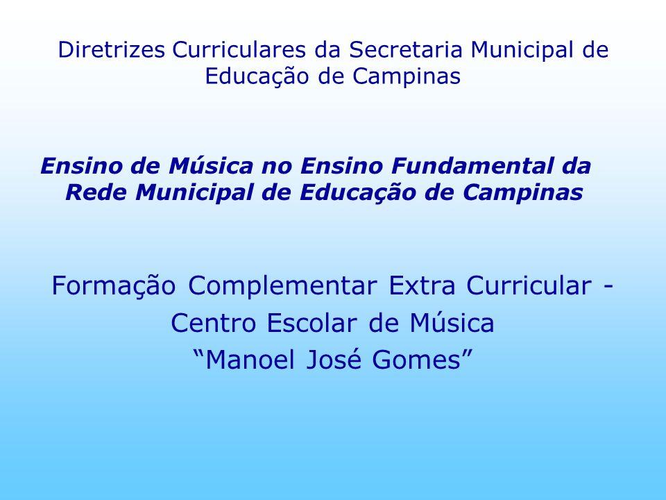 Diretrizes Curriculares da Secretaria Municipal de Educação de Campinas Ensino de Música no Ensino Fundamental da Rede Municipal de Educação de Campin