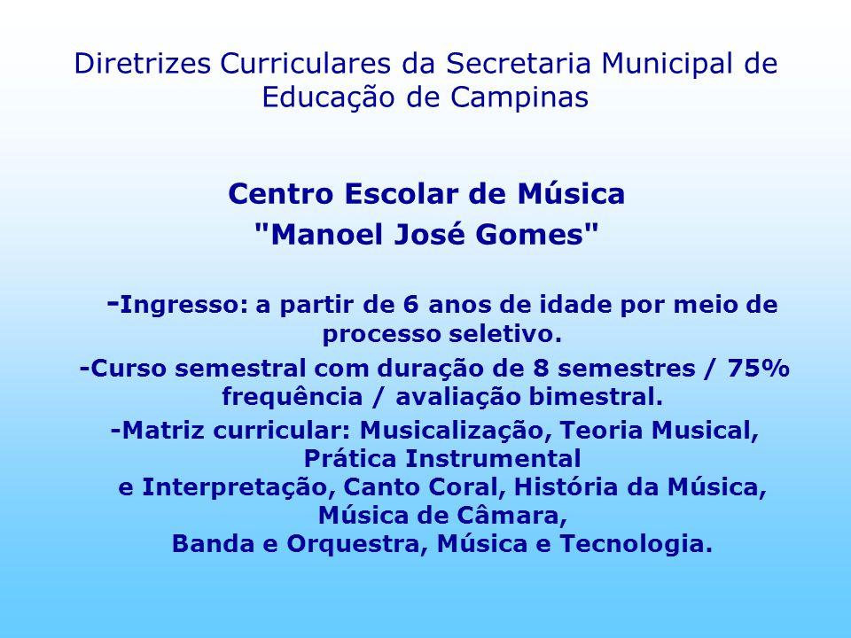 Diretrizes Curriculares da Secretaria Municipal de Educação de Campinas Centro Escolar de Música