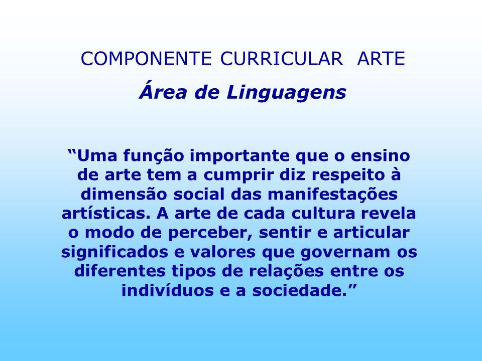 Uma função importante que o ensino de arte tem a cumprir diz respeito à dimensão social das manifestações artísticas. A arte de cada cultura revela o