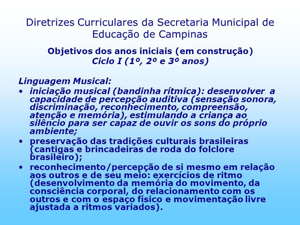 Diretrizes Curriculares da Secretaria Municipal de Educação de Campinas Objetivos dos anos iniciais (em construção) Ciclo I (1º, 2º e 3º anos) Linguag