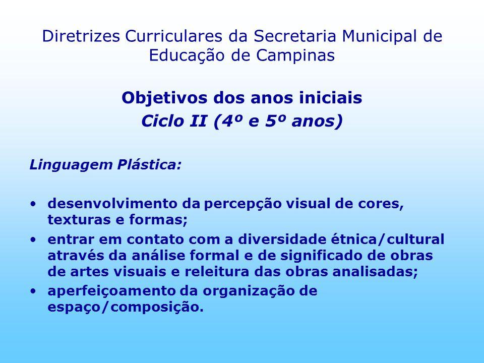 Diretrizes Curriculares da Secretaria Municipal de Educação de Campinas Objetivos dos anos iniciais Ciclo II (4º e 5º anos) Linguagem Plástica: desenv