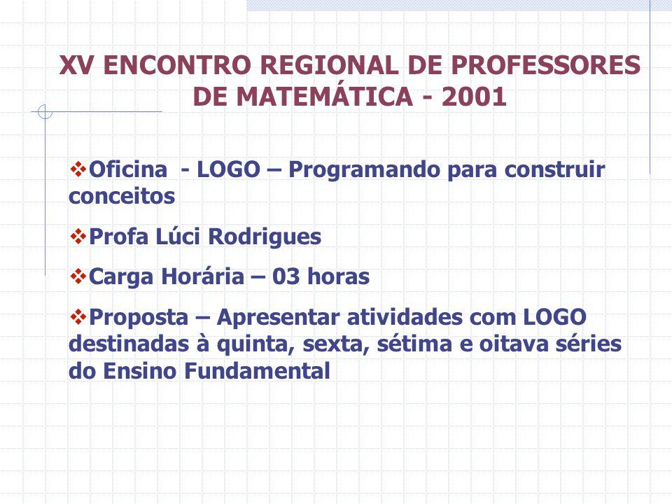 XV ENCONTRO REGIONAL DE PROFESSORES DE MATEMÁTICA - 2001 Oficina - LOGO – Programando para construir conceitos Profa Lúci Rodrigues Carga Horária – 03